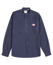 Рубашка Band Collar Linen Shirt Navy